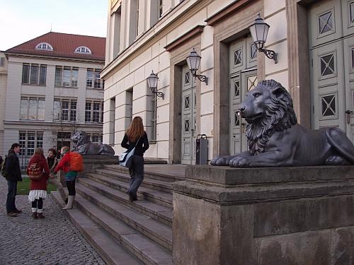 Studenten am Löwengebäude der Martin-Luther-Universität Halle-Wittenberg, Foto: Martin Schramme